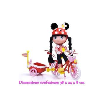 BAMBOLA I LOVE MINNIE C/BICI